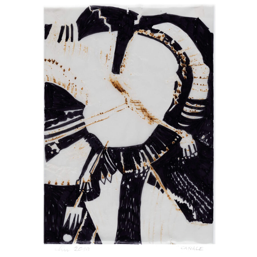 Lucie Plaschka: Brandmal / Pergament / 40 x 30 cm / 2019