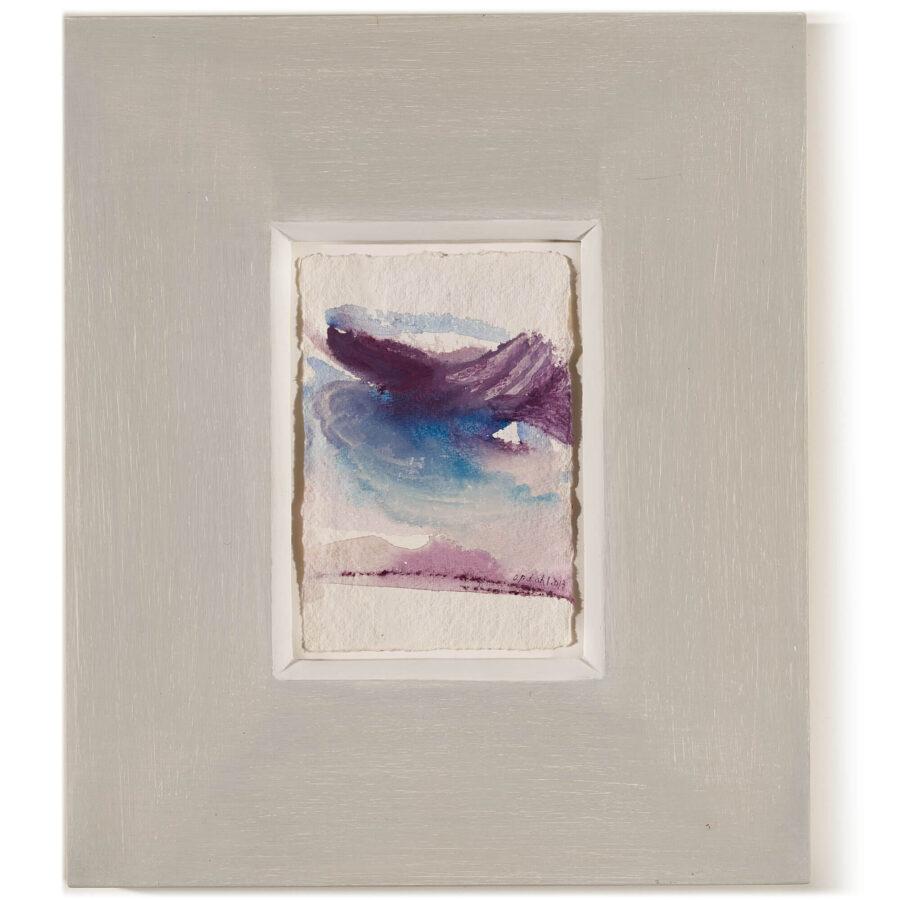 Simone Opdahl: Kleine Seelandschaft / Acryl auf Bütten mit handbemaltem Rahmen / 15 x 10 cm / 2013